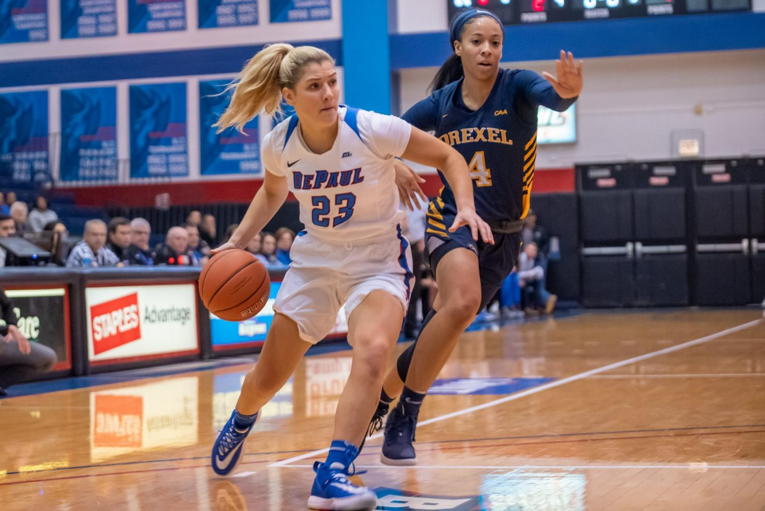 Guard Dee Bekelja dribbles into the lane against Drexel. Bekelja came off the bench to score 7 points for the Blue Demons.