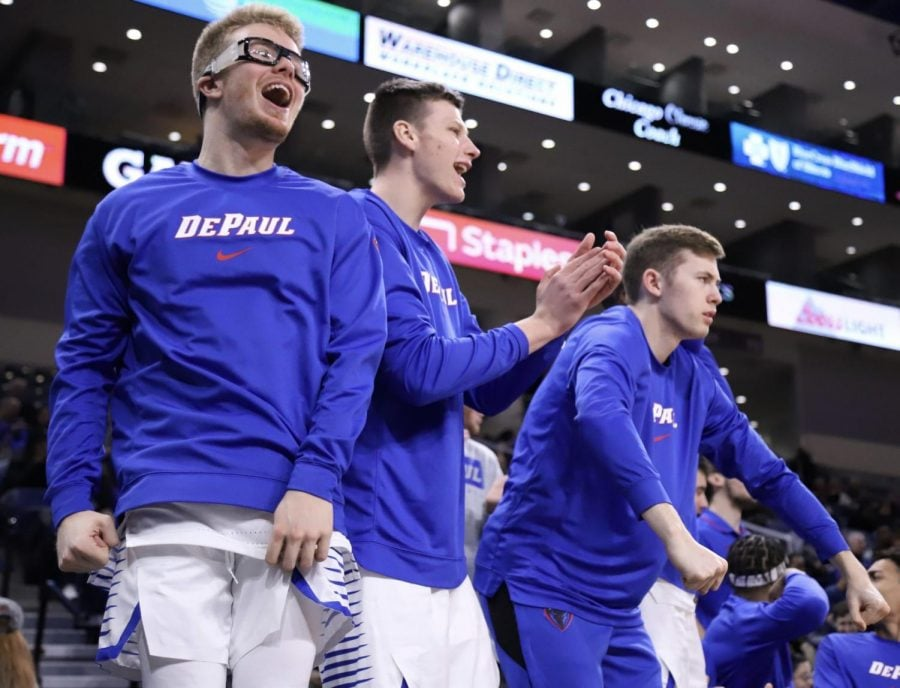 The+DePaul+bench+celebrates+a+play+during+a+game+against+Cornell+on+Nov.+16+at+Wintrust+Arena.+