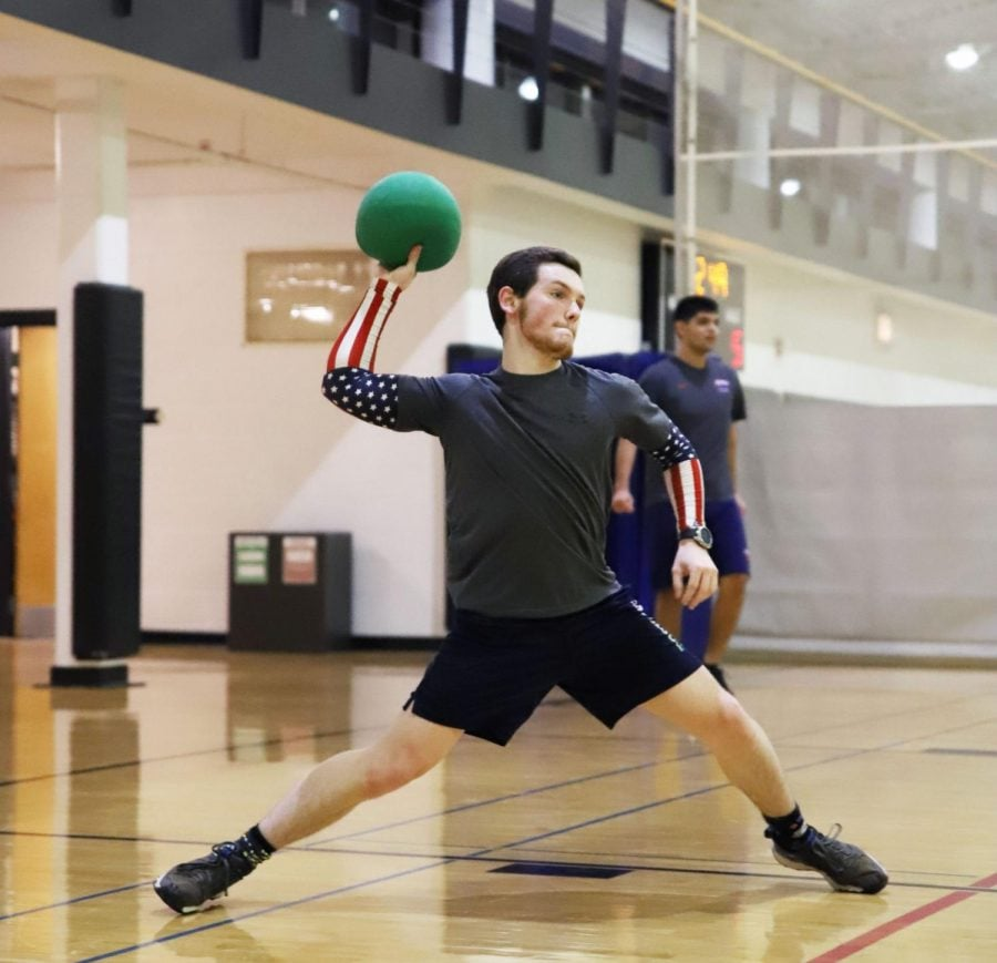 Casey Crowe, a sophomore computer engineer and computer science major, throws a rubber dodgeball during a scrimmage at the Ray-Meyer Fitness Center in Lincoln Park.