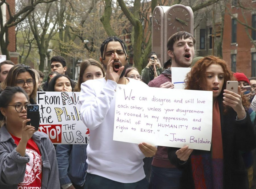 Students protest Professor Jason Hill in May 2019 in response to his controversial statements on Palestine.