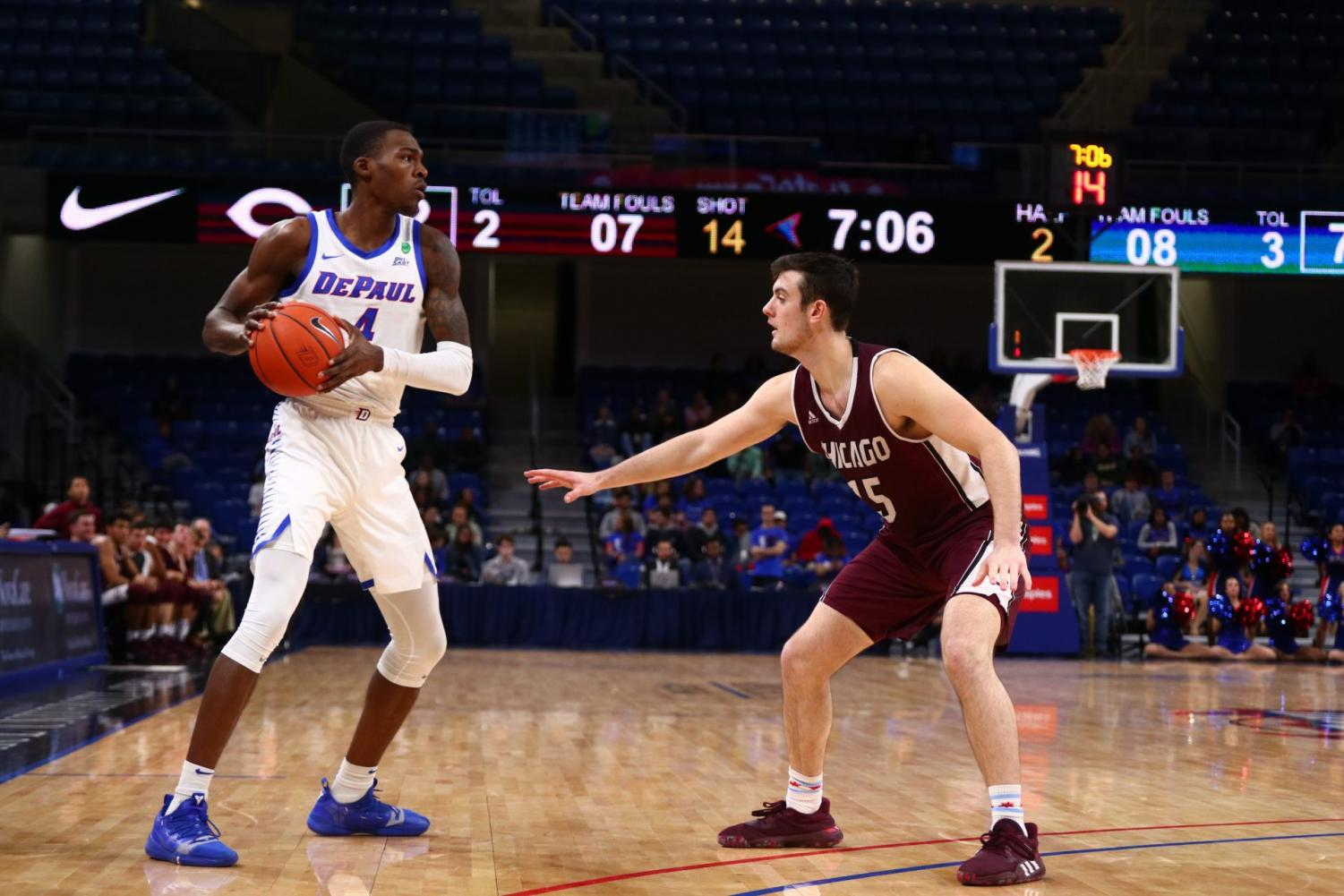 Paul Reed lines up against a U Chicago defender on Wednesday night at Wintrust Arena, the Blue Demons won 84-55.