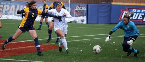 DePaul junior forward Jade Eriksen-Russo goes for the ball in the box against Marquette on Friday at Wish Field.