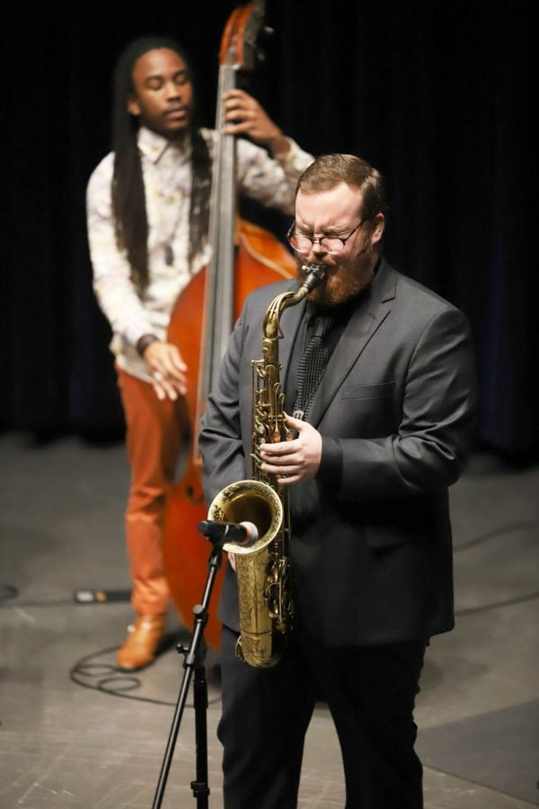 Jack+Smith+plays+the+tenor+saxophone+during+a+Jazz+Performance+on+Wednesday.+