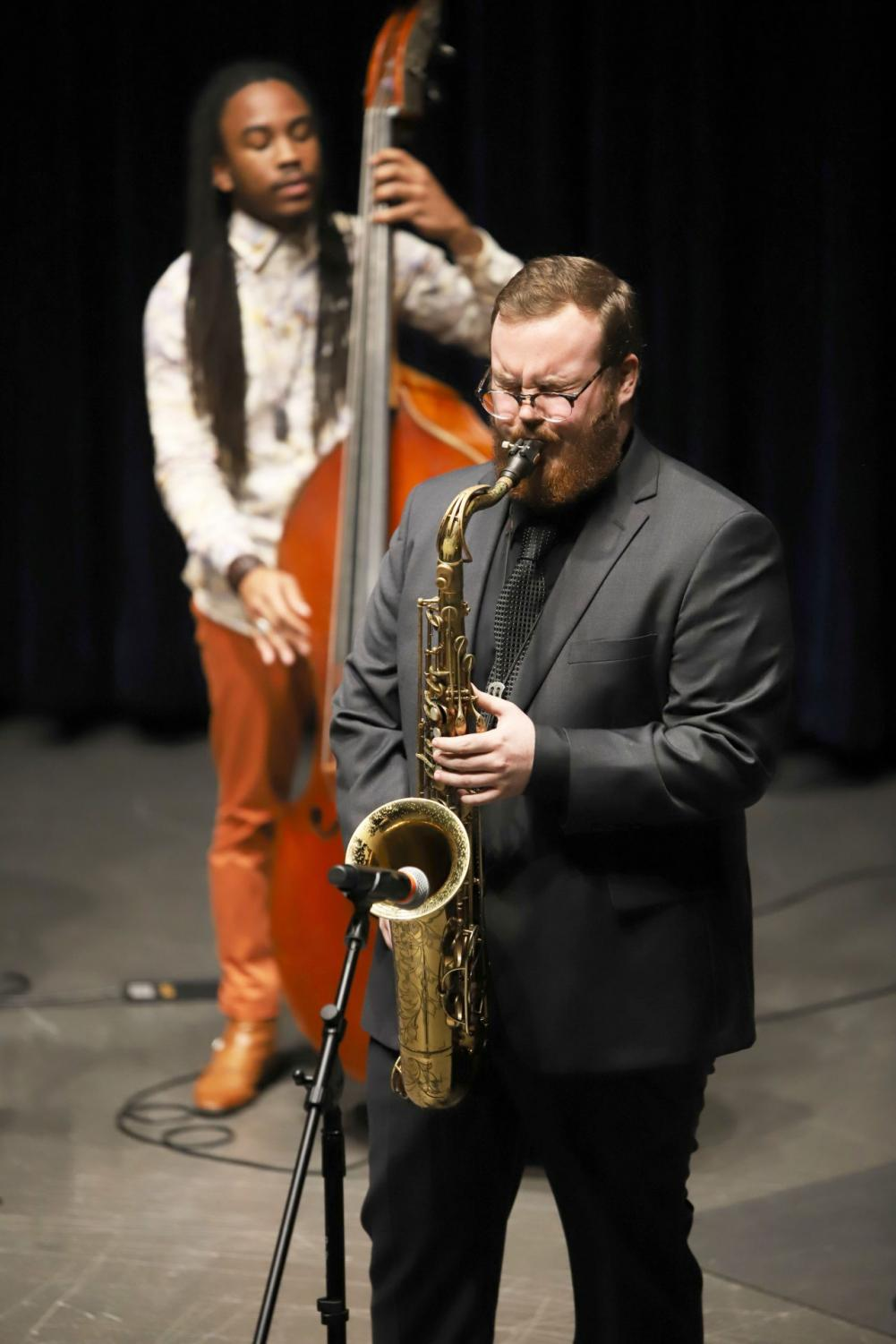 Jack Smith plays the tenor saxophone during a Jazz Performance on Wednesday.