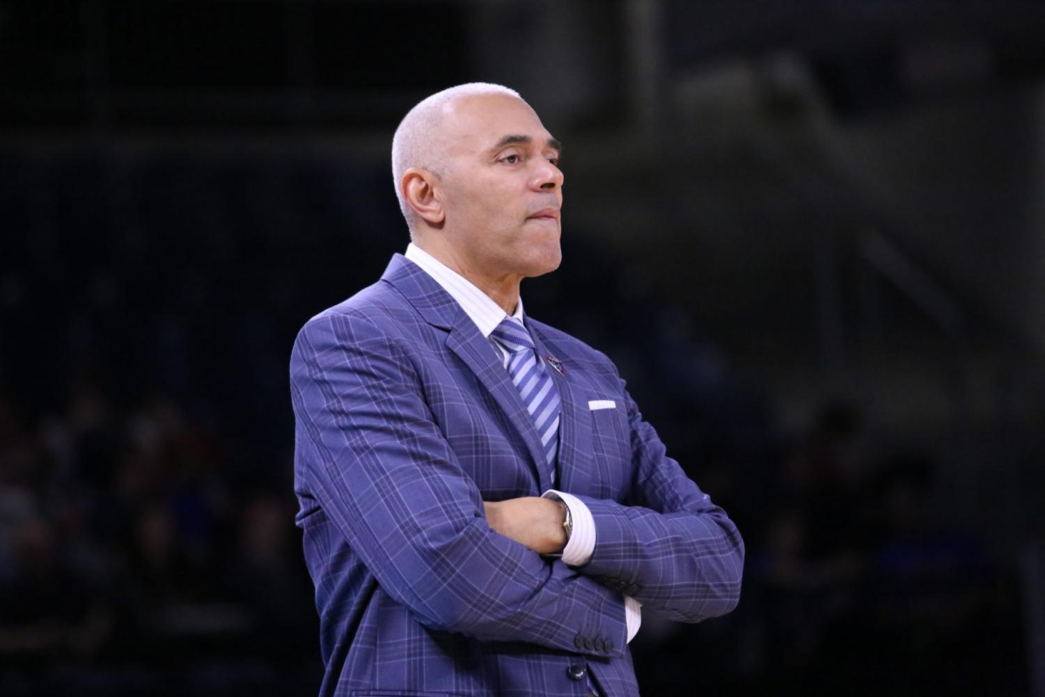 DePaul head coach Dave Leitao looks on during the Blue Demons' game against Cornell on Saturday at Wintrust Arena,