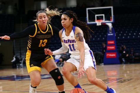 DePaul sophomore guard Sonya Morris dribbles past a defender on Tuesday at Wintrust Arena.