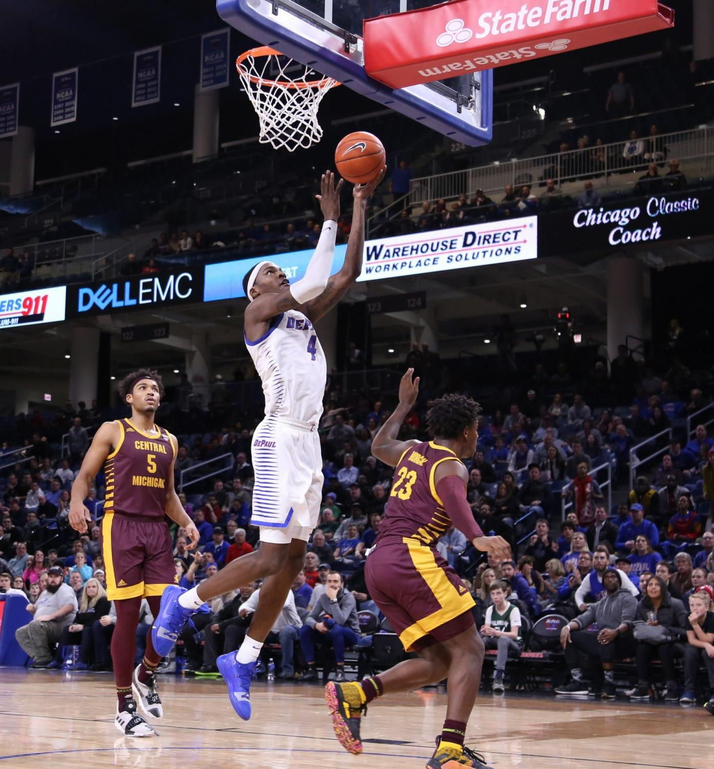 DePaul junior forward Paul Reed goes up for a layup against Central Michigan at Wintrust Arena.