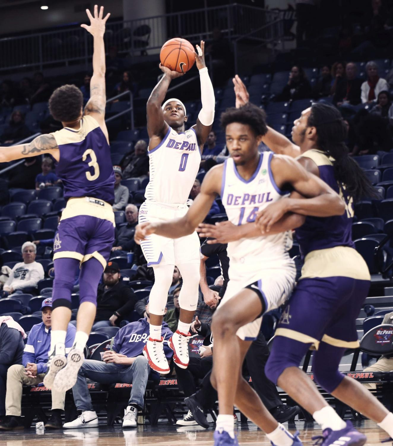 DePaul freshman guard Markese Jacobs attempts a 3-point shot against Alcorn State Tuesday night at Wintrust Arena.