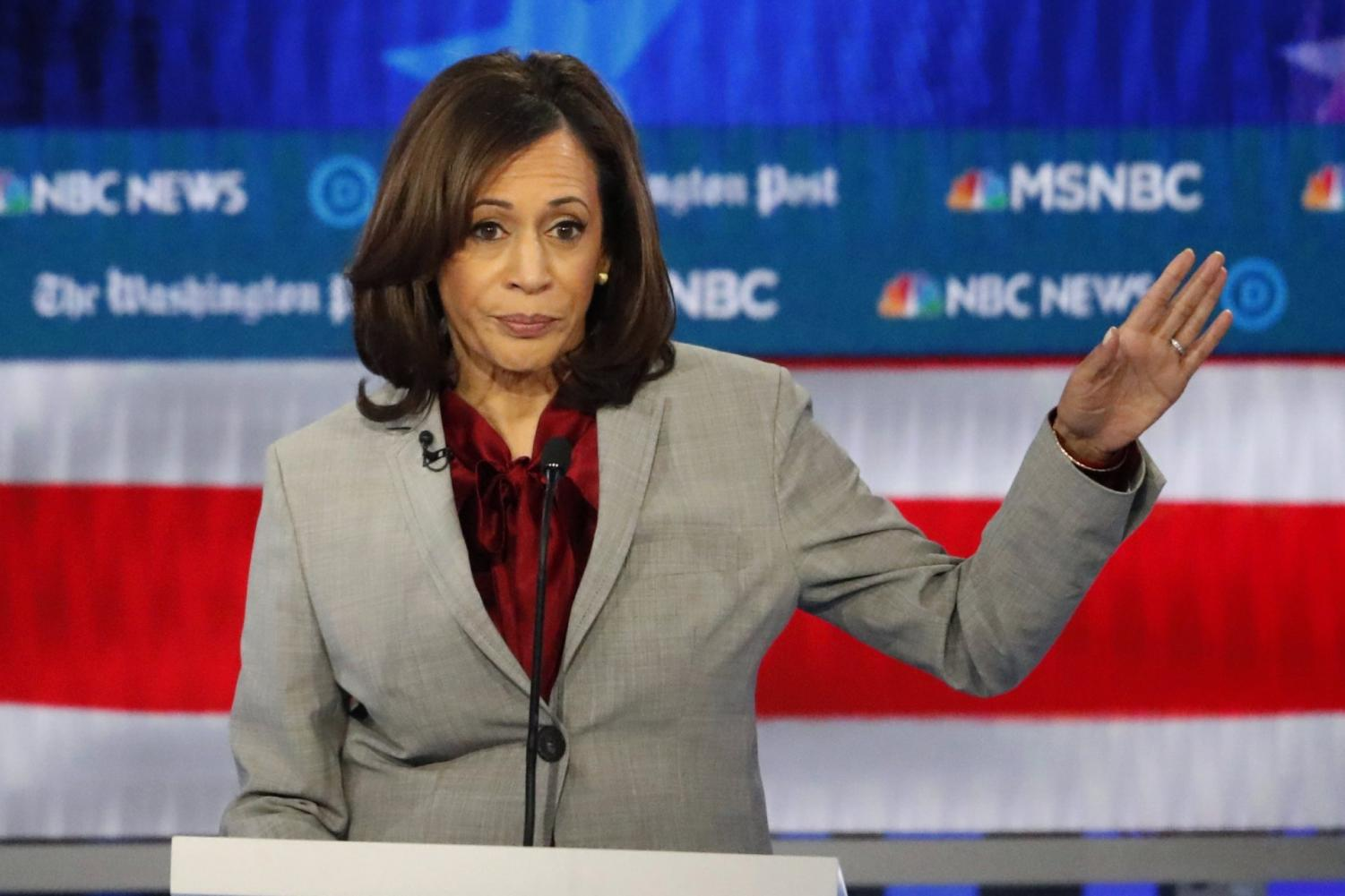 In this Nov. 20, 2019 file photo, Democratic presidential candidate Sen. Kamala Harris, D-Calif., speaks during a Democratic presidential primary debate in Atlanta. Harris, was once considered a front-runner in the crowded Democratic field, is expected to end her campaign for the Democratic presidential nomination, according to a campaign official.