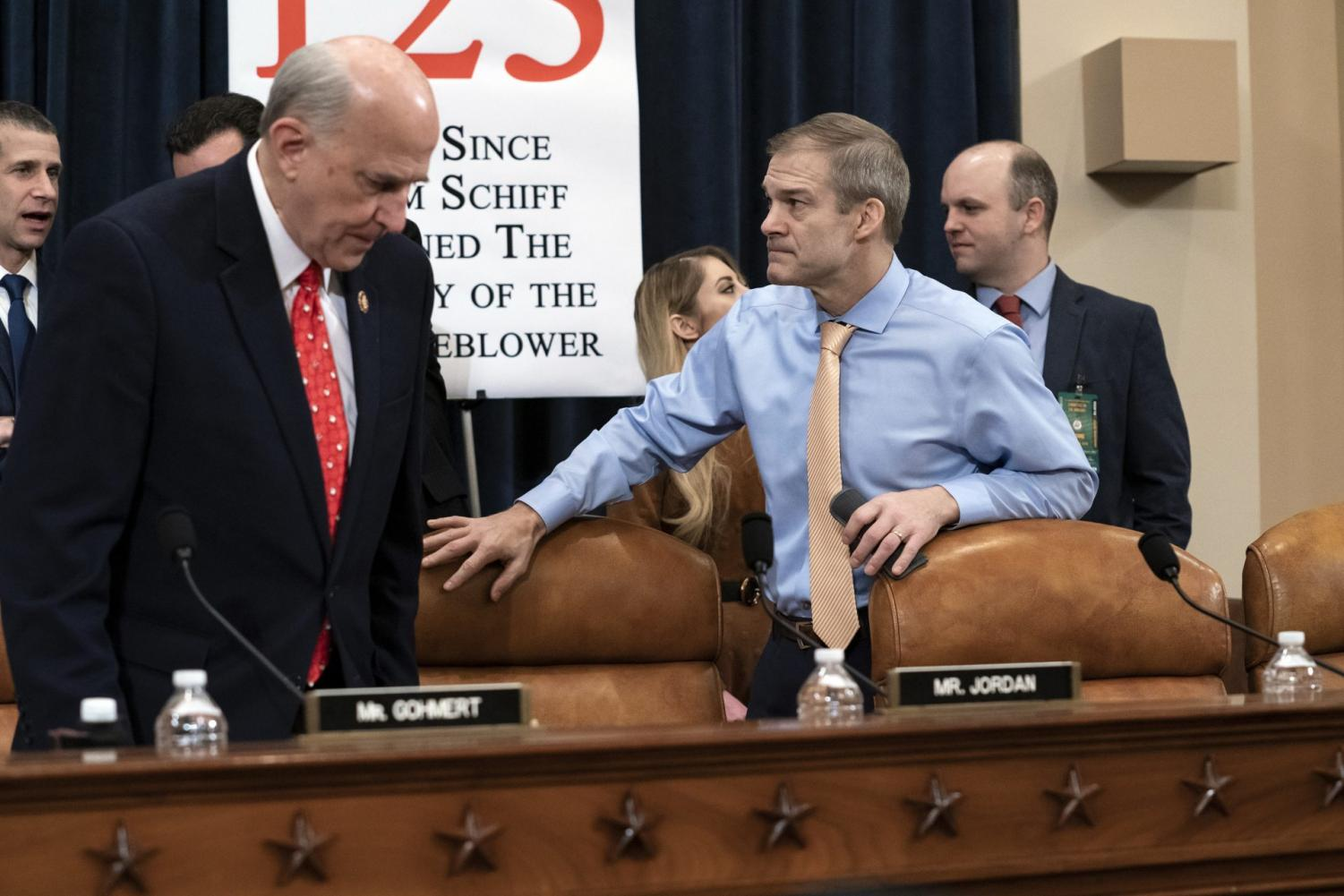 Rep. Louie Gohmert, R-Texas, left, and Rep. Jim Jordan, R-Ohio, arrive for the vote on two articles of impeachment against President Donald Trump, Friday, Dec. 13, 2019, on Capitol Hill in Washington.