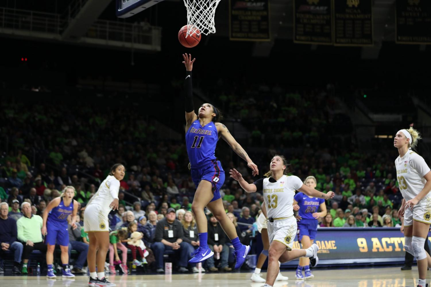 Sonya Morris goes up for a layup in the fourth quarter of her 29 point performance against Notre Dame.
