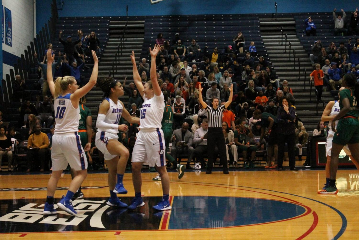 DePaul celebrates after beating Miami in the Maggie Dixon Classic in November. Miami was one of five teams who were ranked or receiving votes when DePaul played them.