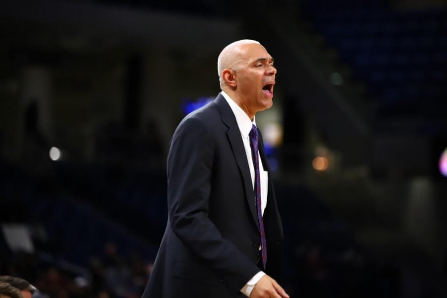 DePaul head coach Dave Leitao yells at his team during their game against Buffalo on Dec. 8.