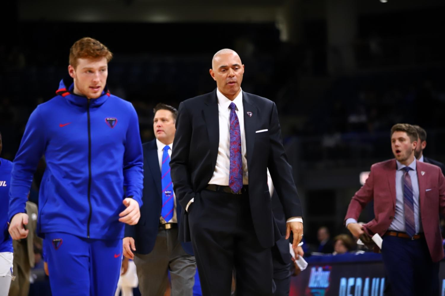 DePaul head coach Dave Leitao walks off the floor after the first half against Buffalo at Wintrust Arena. The Blue Demons lost the game 74-69.