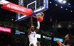 DePaul junior forward Paul Reed dunks the ball against Texas Tech on Dec. 4 at Wintrust Arena.