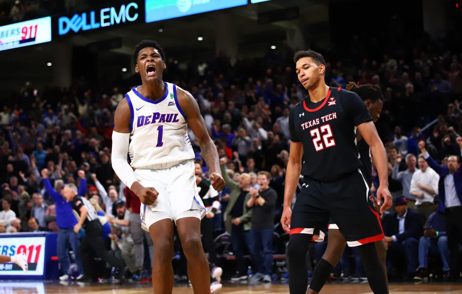 DePaul freshman Romeo Weems celebrates after a dunk in overtime. The Blue Demons won the game 65-60 against Texas Tech.