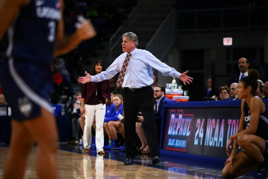 Head coach Doug Bruno reacts to a play during the first half, the Blue Demons were outscored 55-29 in the first twenty minutes.