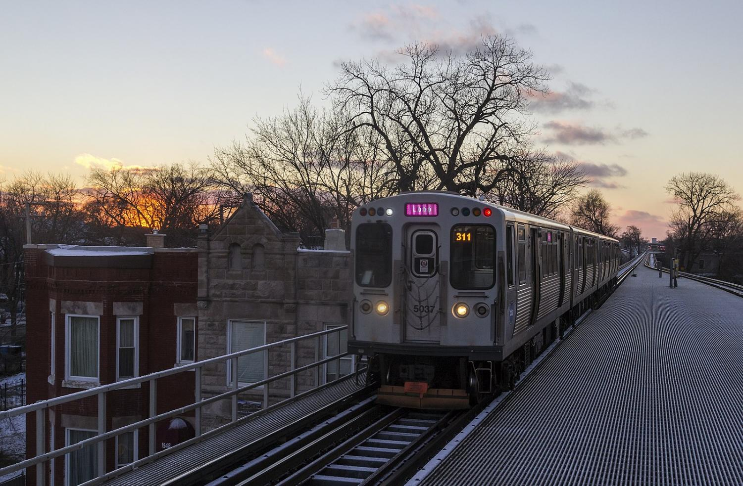 A Loop-bound Pink Line train makes it way into the Kedzie station in the Norht Lawndale neighborhood. The neighborhood has seen effects from the 606 trail.