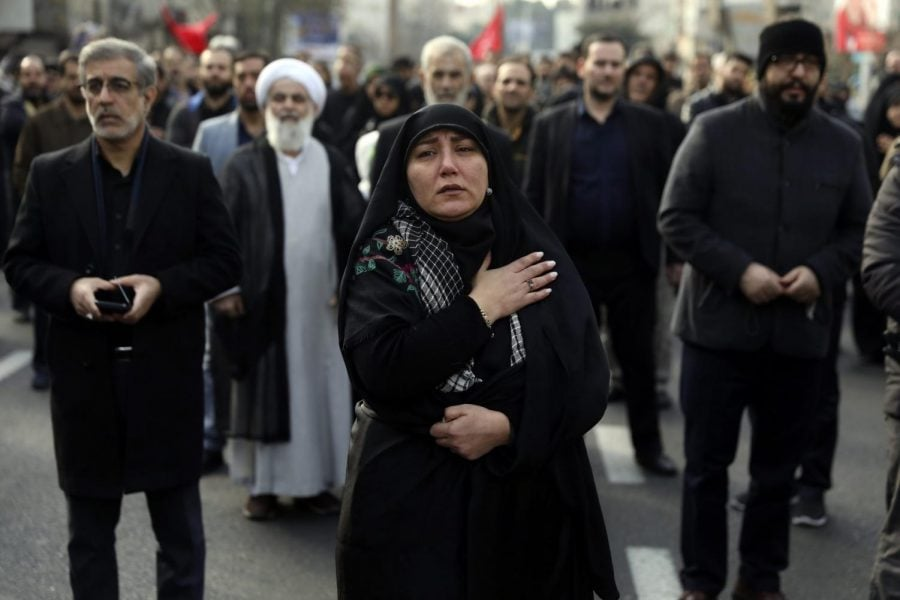 A+woman+mourns+in+a+demonstration+over+the+U.S.+airstrike+in+Iraq+that+killed+Iranian+Revolutionary+Guard+Gen.+Qassem+Soleimani+in+Tehran%2C+Iran%2C+Jan.+3%2C+2020.+Iran+has+vowed+%22harsh+retaliation%22+for+the+U.S.+airstrike+near+Baghdad%27s+airport+that+killed+Tehran%27s+top+general+and+the+architect+of+its+interventions+across+the+Middle+East%2C+as+tensions+soared+in+the+wake+of+the+targeted+killing.