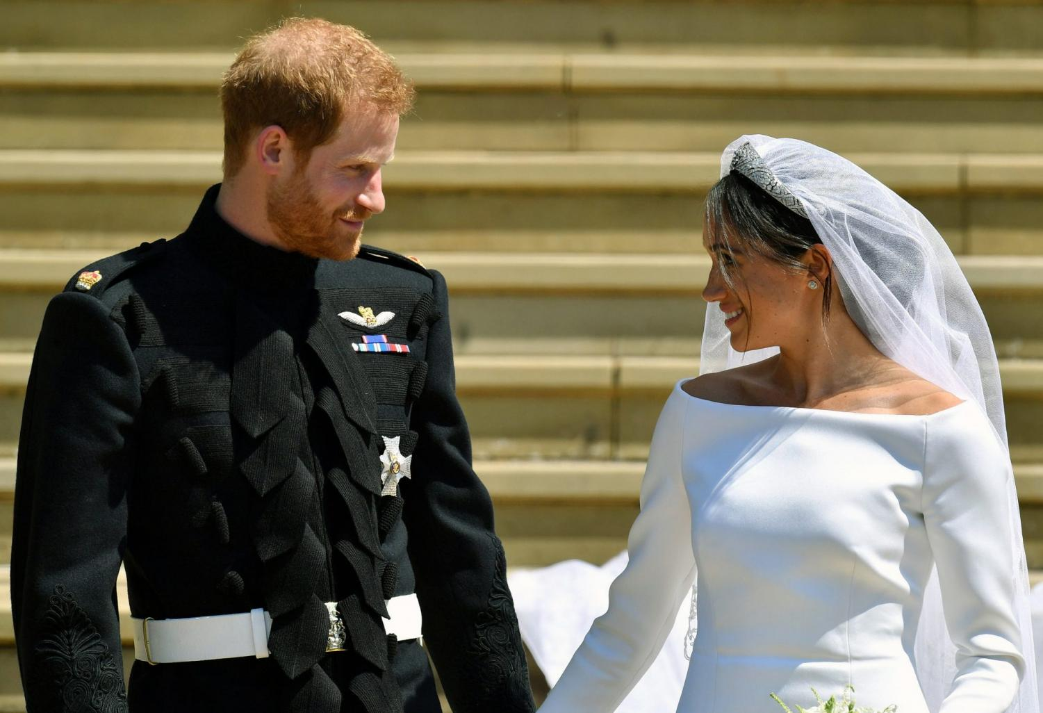 Prince Harry and Meghan Markle, pictured on their wedding day.