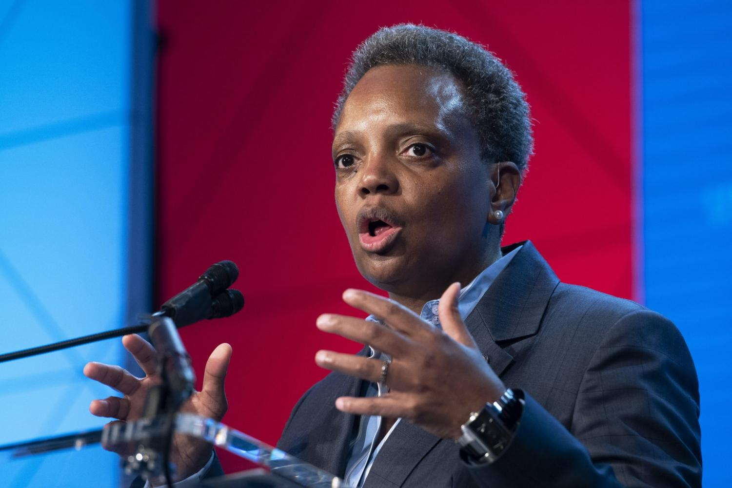 In this Jan. 23, 2020, file photo, Chicago Mayor Lori Lightfoot, speaks at the U.S. Conference of Mayors' Winter Meeting in Washington. Underprivileged areas in Chicago will receive an estimated $20 million investment for revitalization efforts that prioritize affordable housing and economic development, Lightfoot and Illinois Gov. J.B. Pritzker announced Monday, Jan. 27.