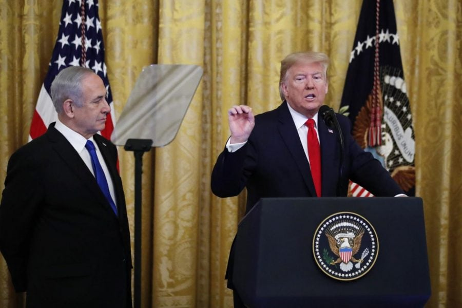 President+Donald+Trump%2C+joined+by+Israeli+Prime+Minister+Benjamin+Netanyahu%2C+speaks+during+an+event+in+the+East+Room+of+the+White+House+in+Washington%2C+Tuesday%2C+Jan.+28%2C+2020%2C+to+announce+the+Trump+administration%27s+much-anticipated+plan+to+resolve+the+Israeli-Palestinian+conflict.