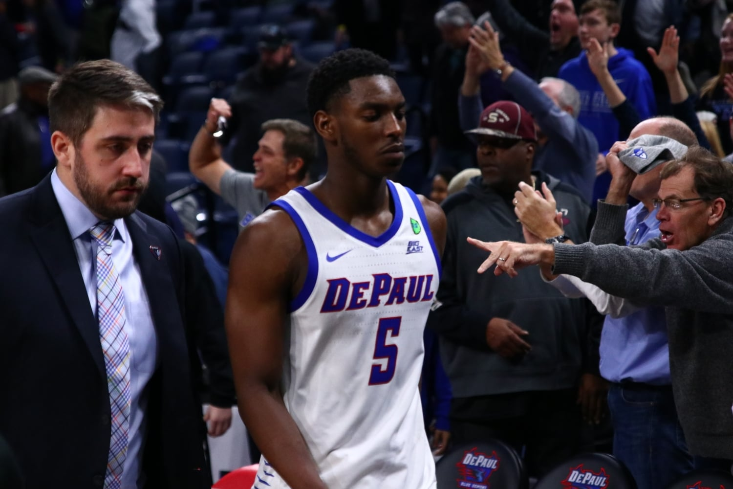 DePaul senior guard Jalen Coleman-Lands walks off the court after a 74-69 loss to Buffalo on Dec. 8 at Wintrust Arena.