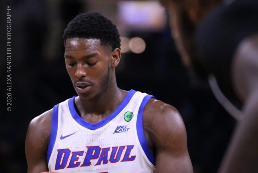 DePaul+junior+guard+Jalen+Coleman-Lands+walks+off+the+court+after+the+first+half.+The+Blue+Demons+lost+66-65.