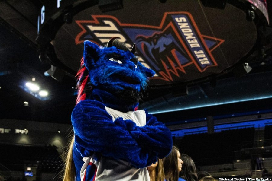 DIBS, DePaul's mascot, at a basketball game.