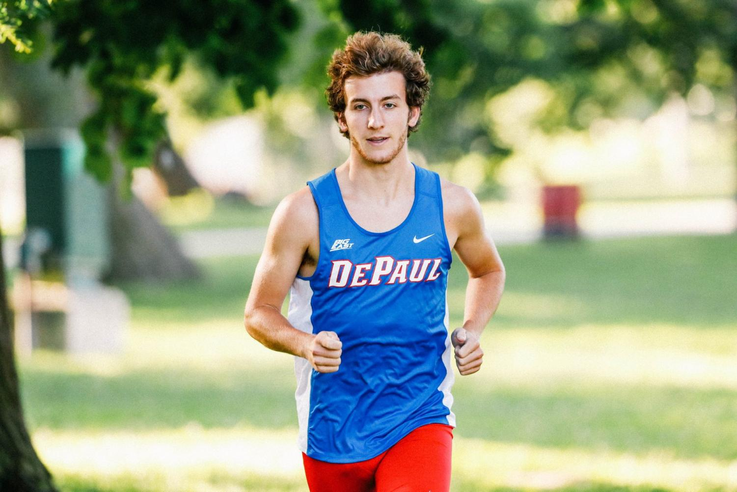 DePaul track and field sophomore Dominic Bruce runs prior to the start of the season.
