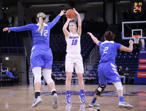 DePaul sophomore forward Lexi Held attempts a 3-pointer against Creighton.