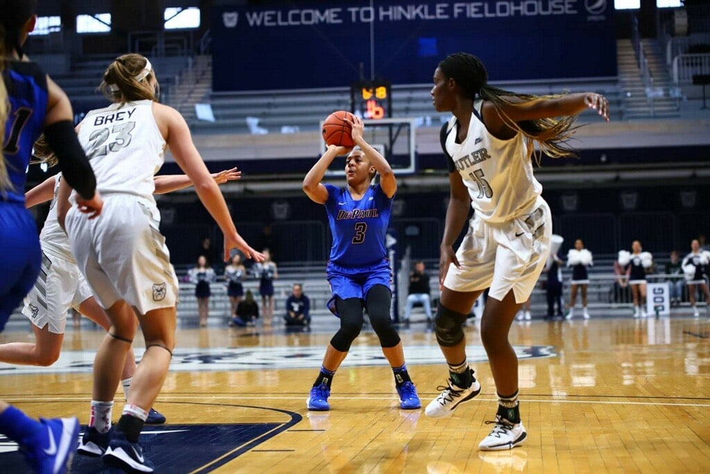 Deja Church rises for a jumper in the first half against Butler.