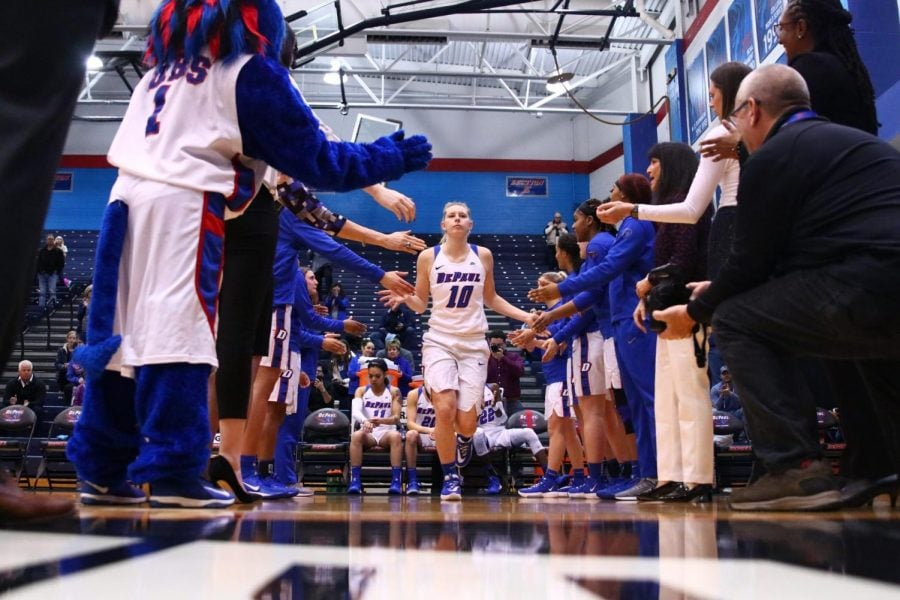 Lexi Held in the pregame starting lineup announcements prior to her 19 point performance against Georgetown on Sunday.