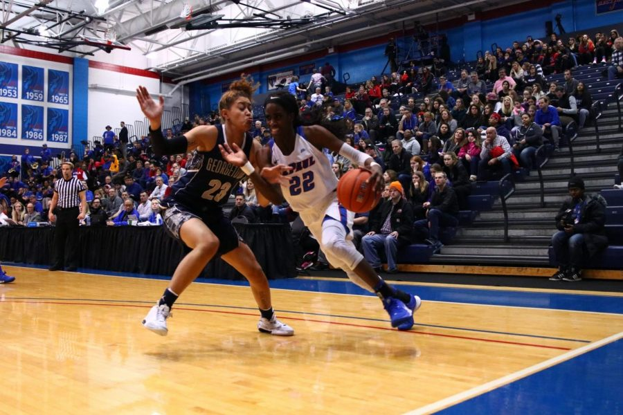 Chante Stonewall drives towards the basket in the first half of DePauls 92-66 win.