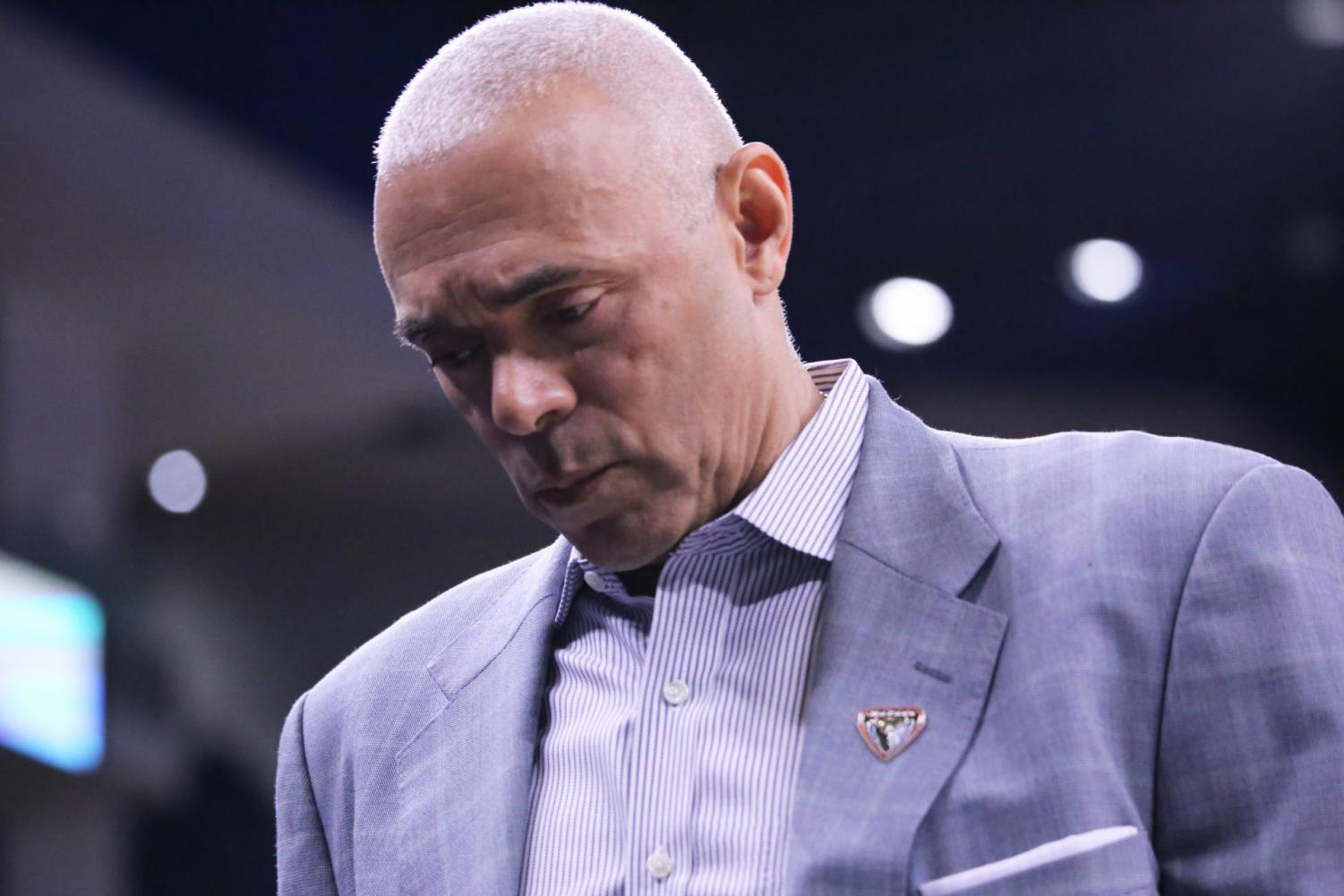 DePaul head coach Dave Leitao looks down during the Blue Demons' 79-66 loss to St. John's on Saturday at Wintrust Arena.
