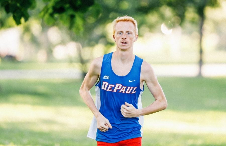 DePaul track and field sophomore Ryan Taylor runs prior to the 2019-2020 season.