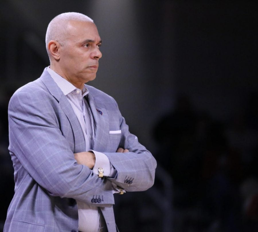 DePaul head coach Dave Leitao watches his team give up 13 3-pointers against St. Johm's on Saturday at Wintrust Arena. The Blue Demons lost the game 79-66.