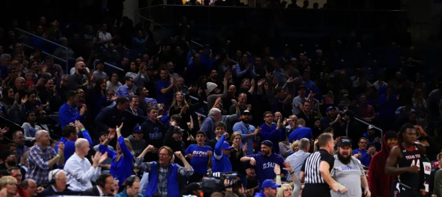 A section of the DePaul crowd during the Blue Demons' 65-60 victory over Texas Tech on Dec. 4 at Wintrust Arena.