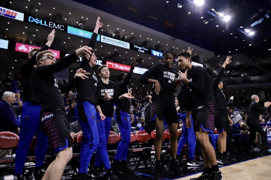 The+DePaul+bench+celebrates+during+the+Blue+Demons%27+79-66+win+over+No.+5+Butler.