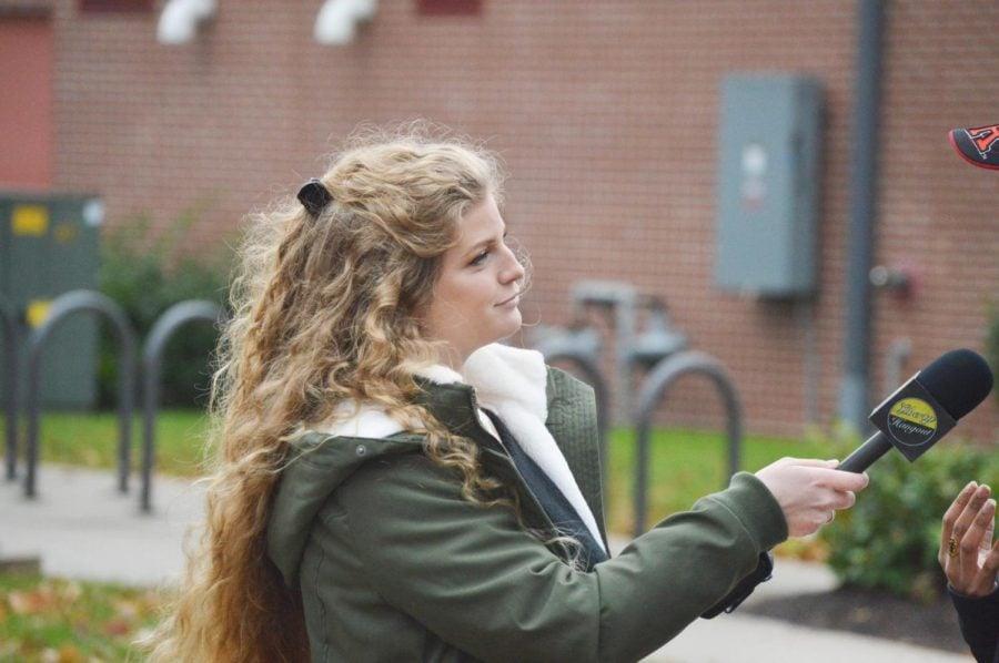 Kaitlin Bennett interviews an unseen subject at Rutgers University.
