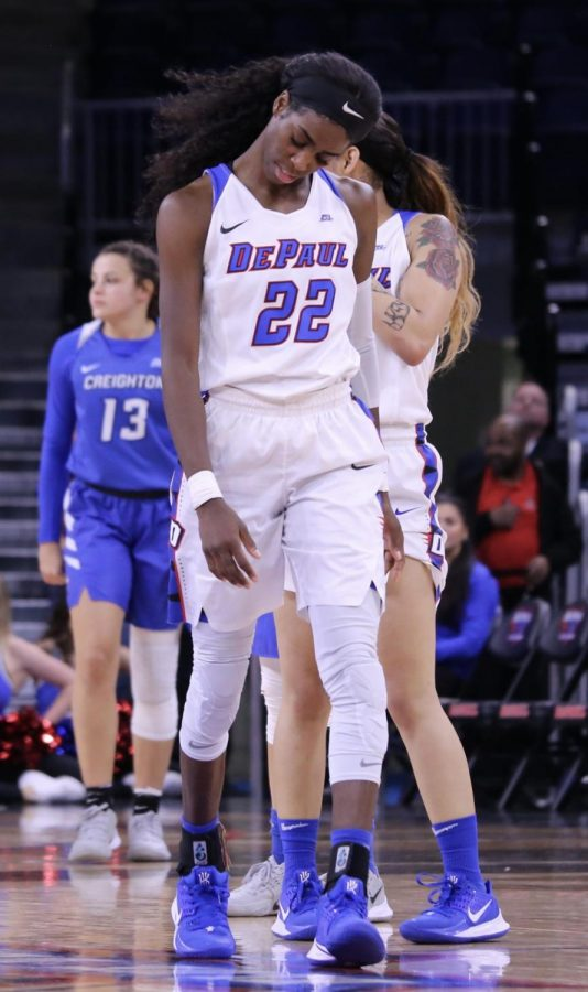 DePaul senior guard Chante Stonewall looks down during the second half against Creighton on Friday at Wintrust Arena.