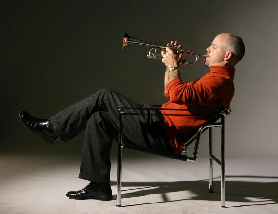 Stephen+Banks+poses+with+his+trumpet.+The+acclaimed+musician+will+be+joining+DePaul%E2%80%99s+School+of+Music+as+an+adjunct+professor+of+trumpet+performance.+