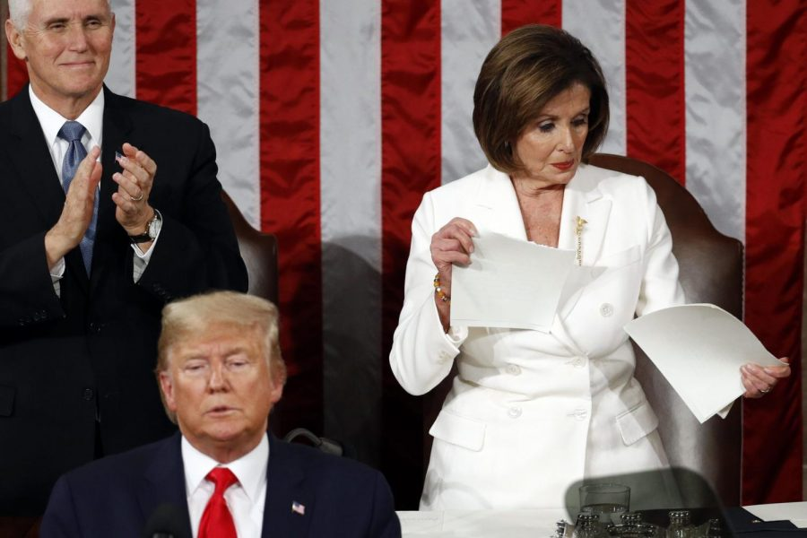 House+Speaker+Nancy+Pelosi+of+Calif.%2C+tears+her+copy+of+President+Donald+Trump%27s+s+State+of+the+Union+address+after+he+delivered+it+to+a+joint+session+of+Congress+on+Capitol+Hill+in+Washington%2C+Tuesday%2C+Feb.+4%2C+2020.+Vice+President+Mike+Pence+is+at+left.