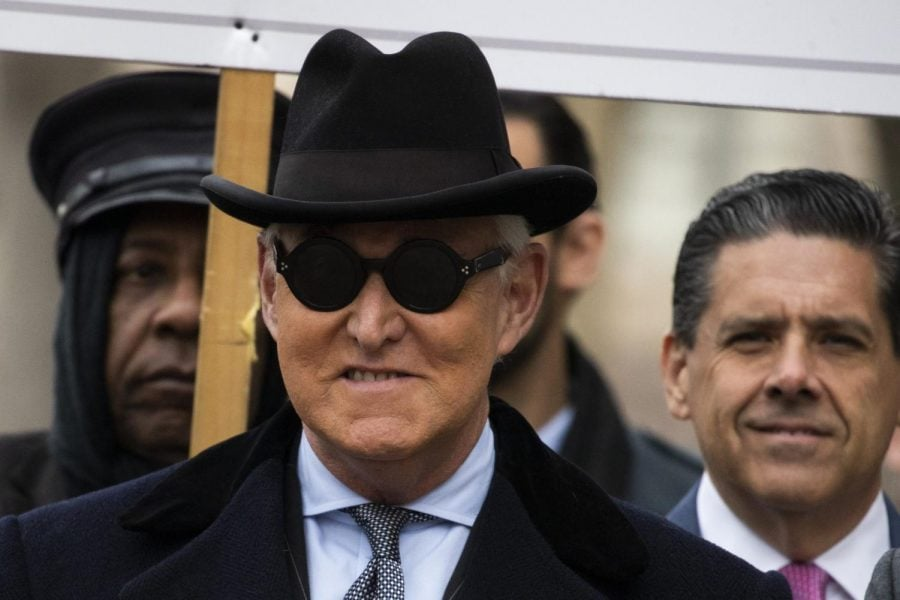 Roger+Stone%2C+center%2C+puts+his+hat+on+as+he+departs+after+his+sentencing+at+federal+court+in+Washington%2C+Thursday%2C+Feb.+20%2C+2020.+President+Donald+Trump+loyalist+and+ally%2C+Roger+Stone+was+sentenced+to+over+three+years+in+federal+prison%2C+following+an+extraordinary+move+by+Attorney+General+William+Barr+to+back+off+his+Justice+Department%27s+original+sentencing+recommendation.+The+sentence+came+amid+President+Donald+Trump%27s+unrelenting+defense+of+his+longtime+confidant+that+led+to+a+mini-revolt+inside+the+Justice+Department+and+allegations+the+president+interfered+in+the+case.