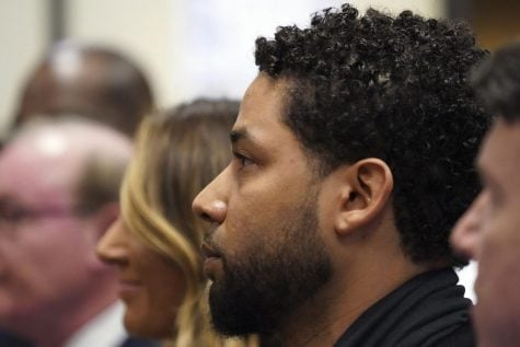 Actor Jussie Smollett appears in a courtroom at the Leighton Criminal Court Building in Chicago on Feb. 24, 2020, where he plead not guilty to restored charges that accuse him of staging a racist, homophobic attack against himself and falsely reporting it to police.