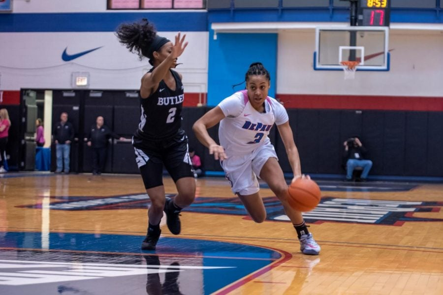 DePaul+junior+guard+Deja+Church+drives+past+a+Butler+defender+in+the+first+half+on+Friday+at+McGrath-Phillips+Arena.+Church+finished+the+game+with+19+points.+