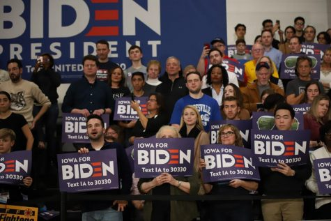 Supporters of VP Joe Biden attend a campaign event in Des Moines.