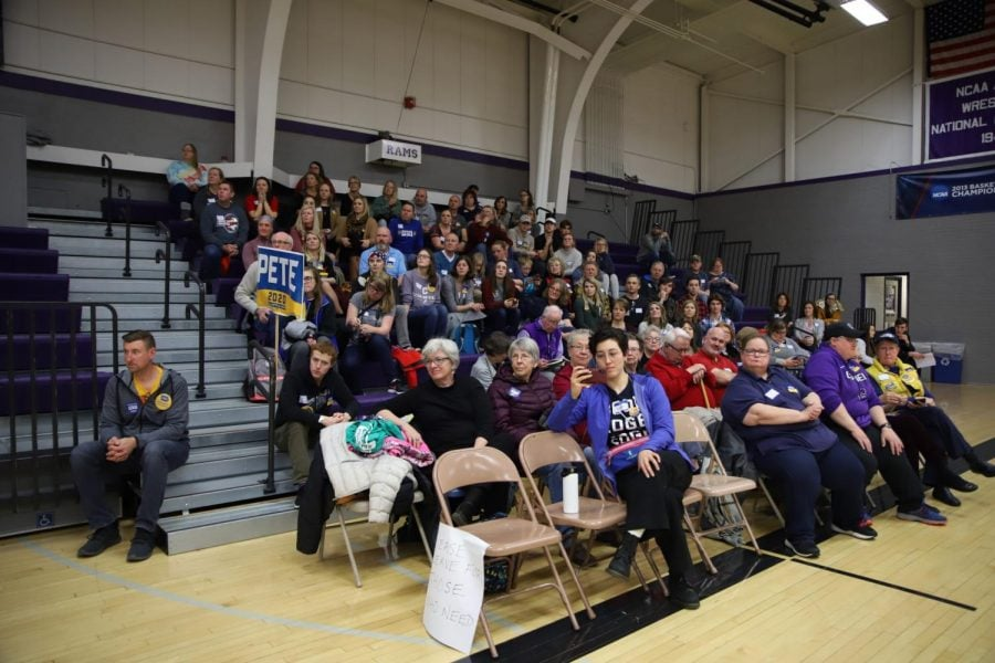 Supporters of Pete Buttigieg attend the Mt. Vernon South precinct caucus.