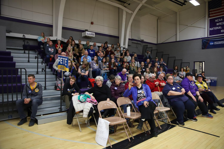 Supporters of Pete Buttigieg attend the Mt. Vernon South precinct caucus.