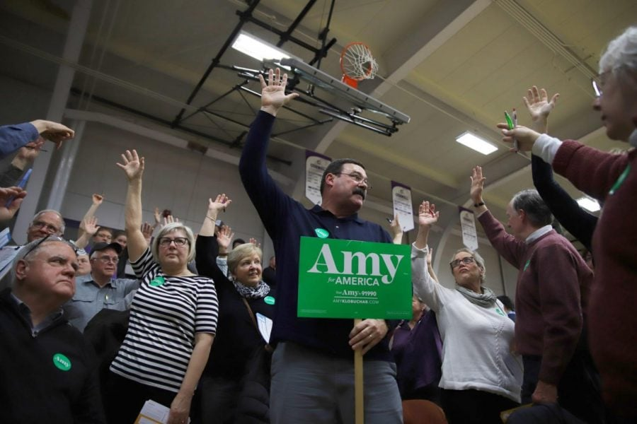 Supporters of Amy Klobuchar gather at the Mount Vernon South precinct caucus.